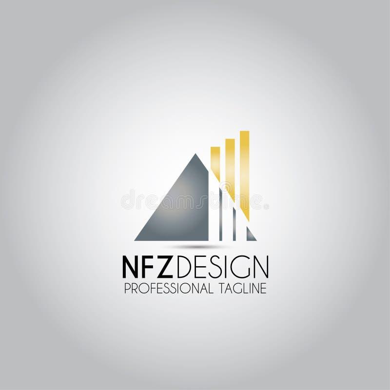 Logo för torn för Triangel pyramidbyggande royaltyfri illustrationer