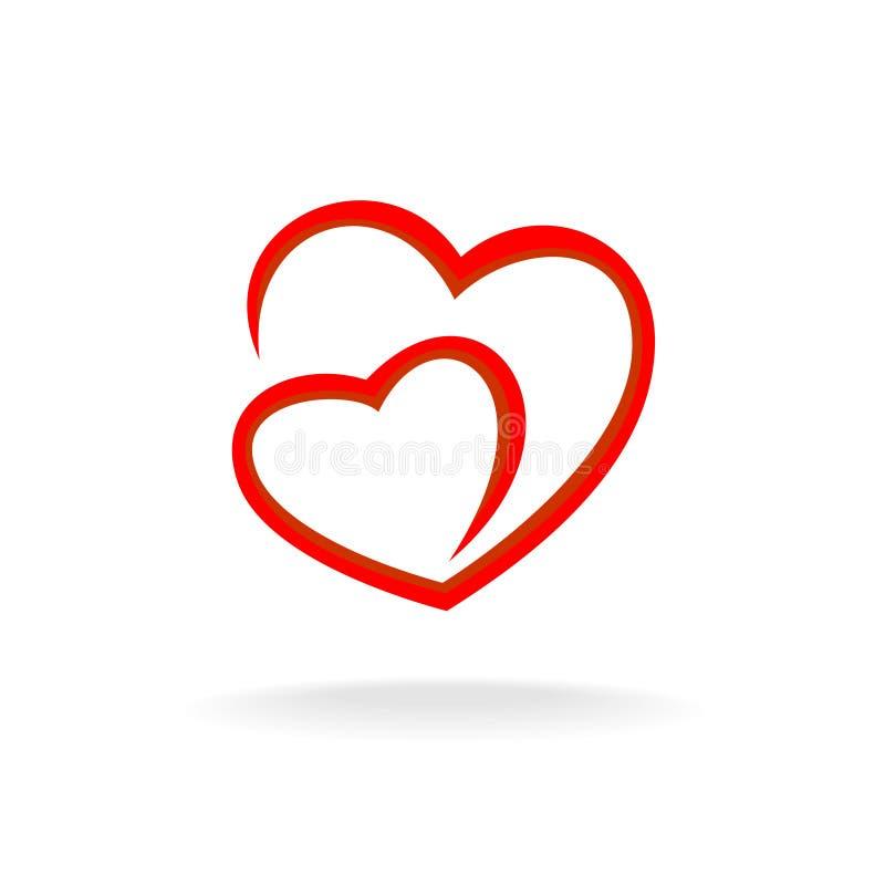 Logo för två hjärtor stock illustrationer