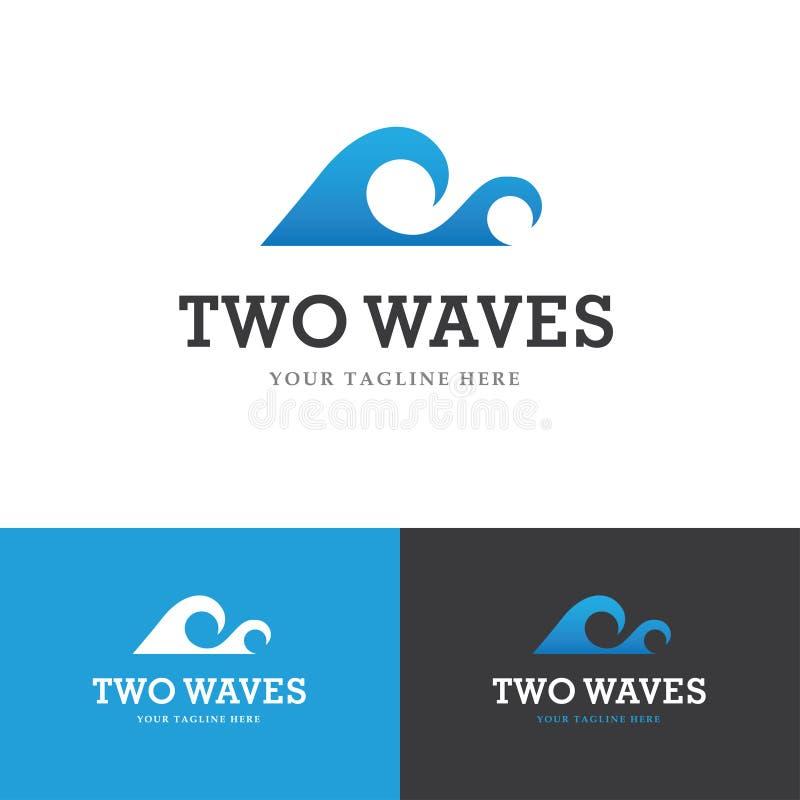 Logo för två vågor stock illustrationer
