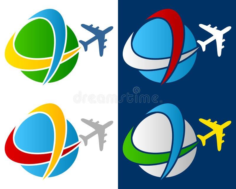 Logo för världsloppflygplan royaltyfri illustrationer