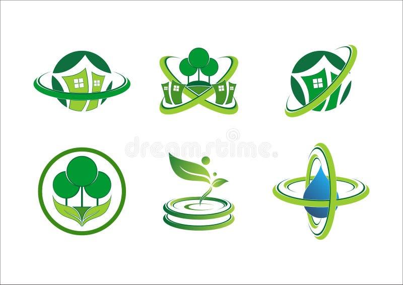 Logo för växt för cirkelanslutningshem, husbyggnad, landskap, fastighet, grön natursymbolsymbol vektor illustrationer