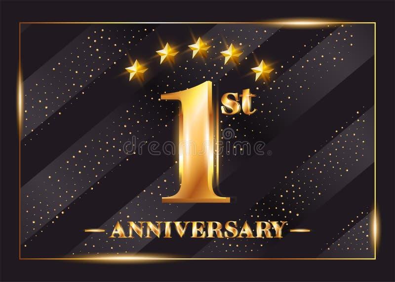 Logo för vektor för 1 år årsdagberöm 1st årsdag royaltyfri illustrationer