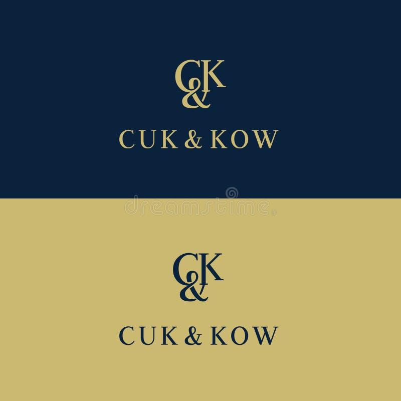 Logo för vektor för för c- och K-bokstavshotell eller boutique C K-bokstäver av alfabetemblemet royaltyfri illustrationer
