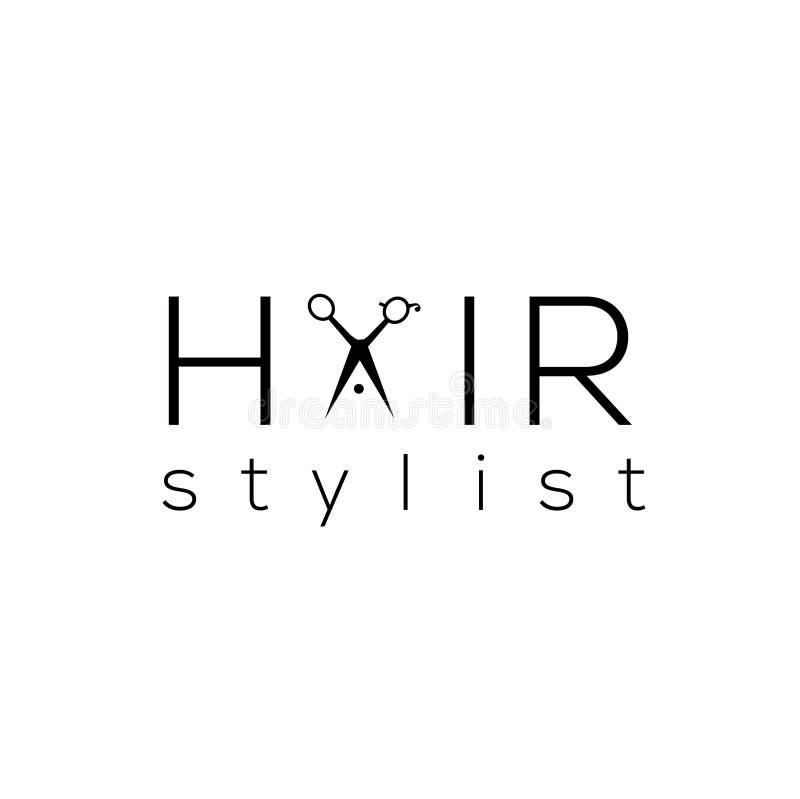 Logo för vektor för hårstylist Emblem för hårsalong stock illustrationer