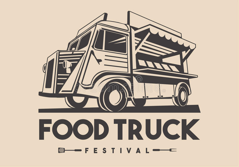 Logo för vektor för hemsändning för matlastbilrestaurang vektor illustrationer