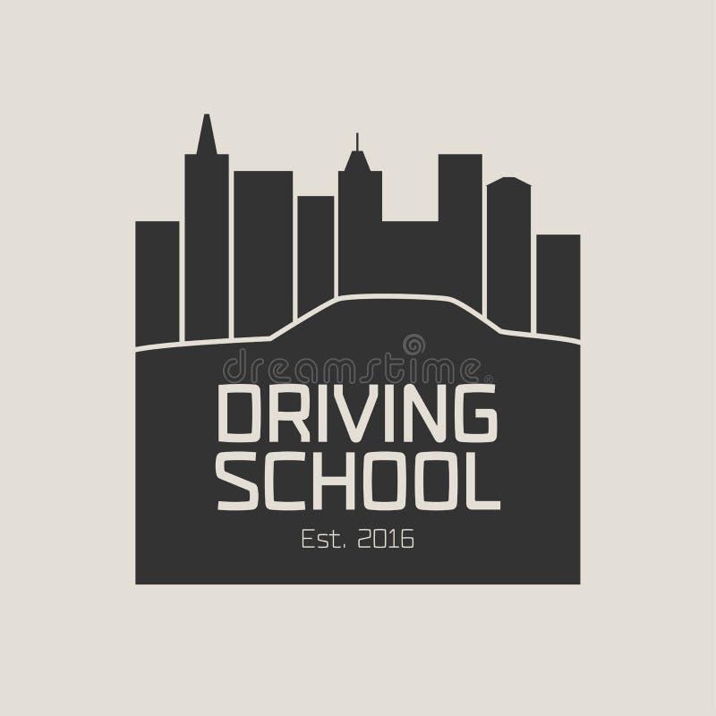 Logo för vektor för skola för körningslicens, tecken, emblem stock illustrationer