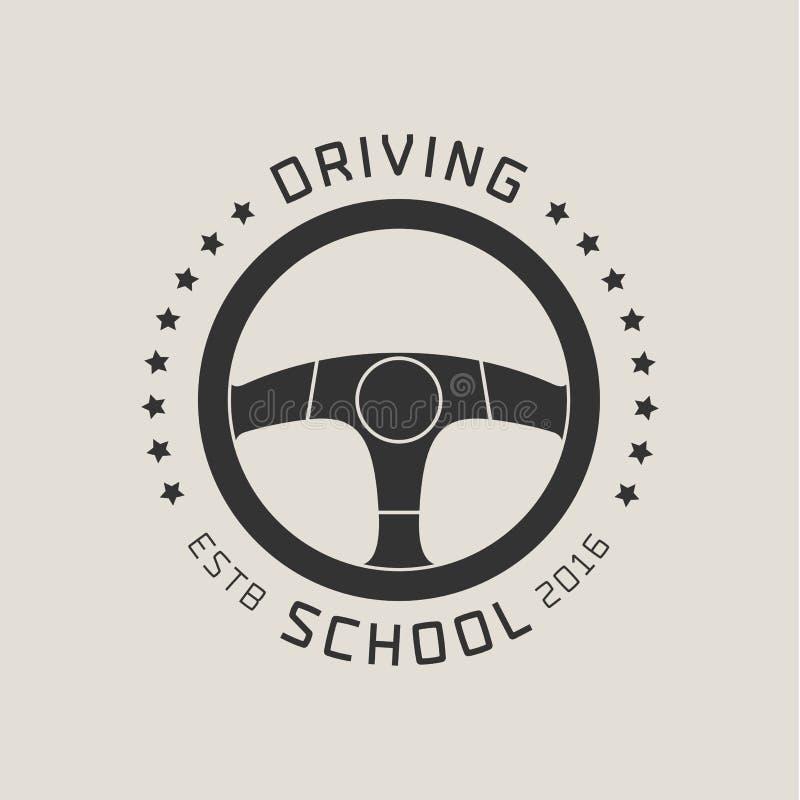 Logo för vektor för skola för körningslicens, tecken, emblem vektor illustrationer