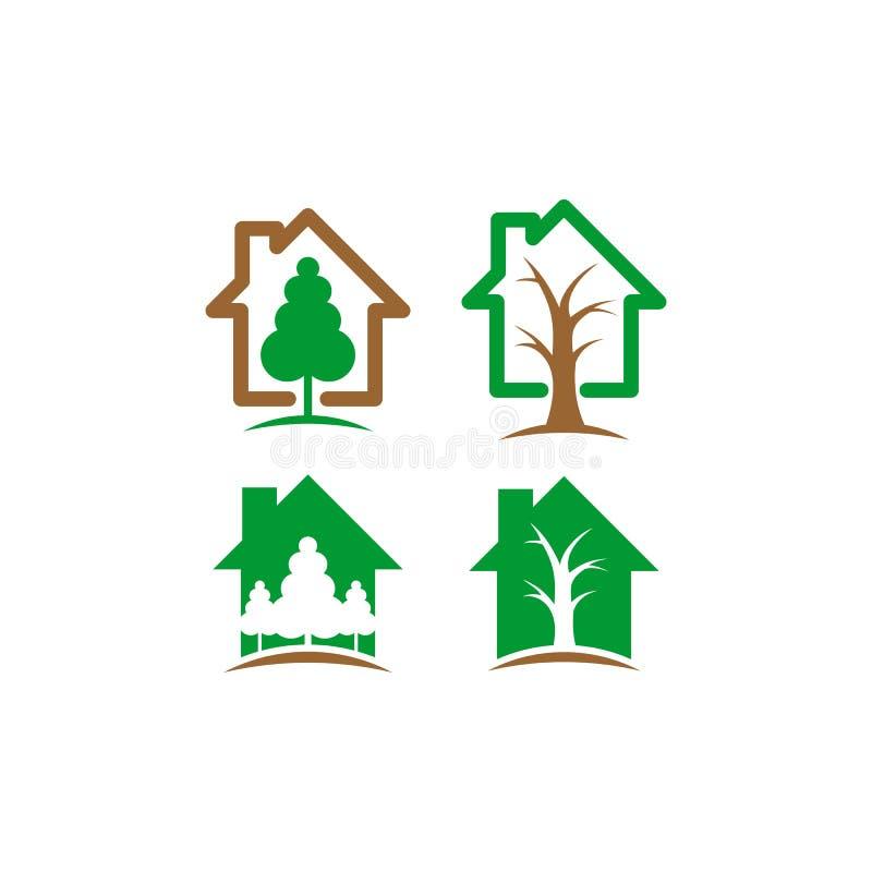 Logo för vektor för trädhus vektor illustrationer