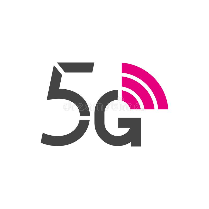 logo för vektor 5G för internetnätverk för 5th utveckling trådlös teknologi Mobila enheter telekommunikation, affär, rengöringsdu vektor illustrationer