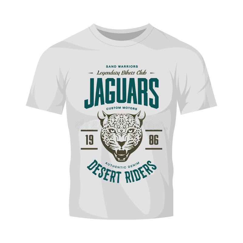 Logo för vektor för klubba för motorer för rasande jaguar för tappning beställnings- på vit t-skjorta åtlöje upp stock illustrationer