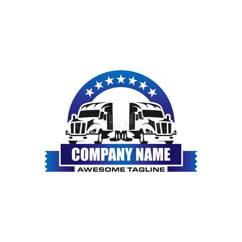 Logo för vektor för lastbilmedeltrans. vektor illustrationer