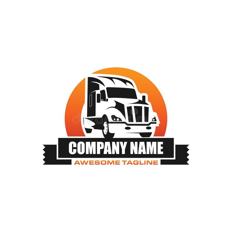 Logo för vektor för lastbilmedeltrans. royaltyfri illustrationer