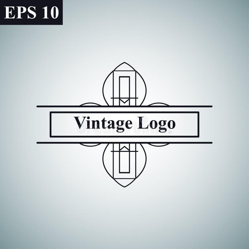 Logo för vektor för lyxig retro för tappning dekorativ antik för art déco monokrom tappning för hipster minsta geometrisk linjär vektor illustrationer