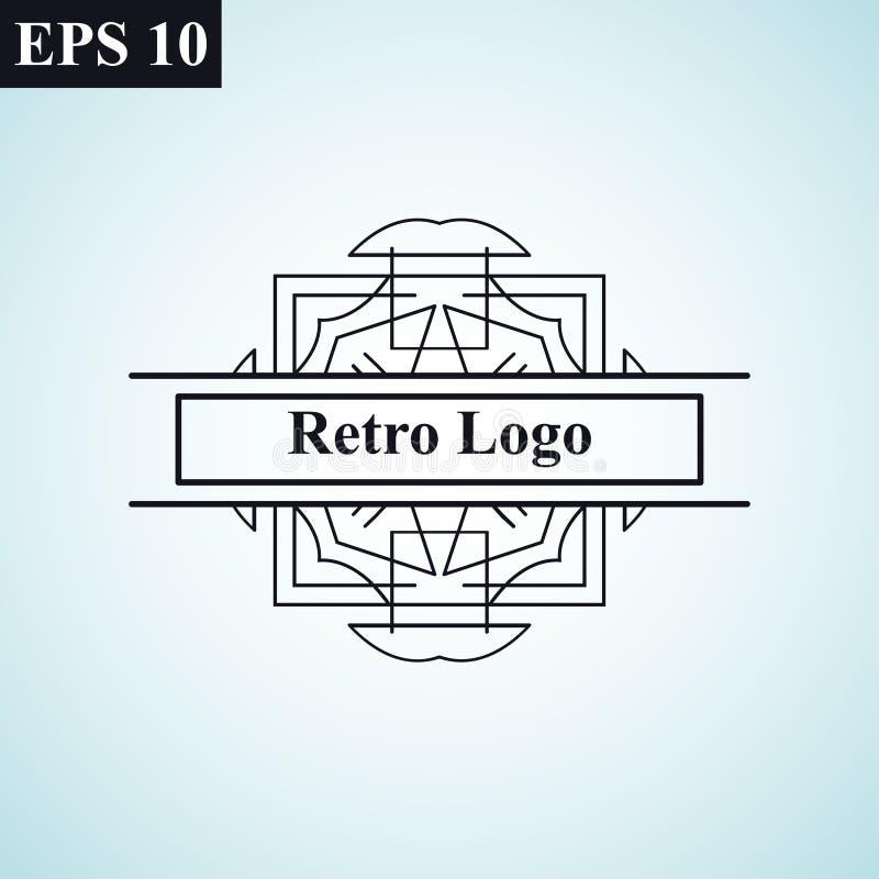 Logo för vektor för lyxig retro för tappning dekorativ antik för art déco monokrom tappning för hipster minsta geometrisk linjär stock illustrationer