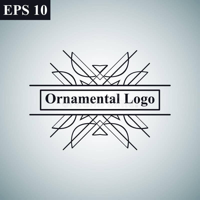 Logo för vektor för lyxig retro för tappning dekorativ antik för art déco monokrom tappning för hipster minsta geometrisk linjär royaltyfri illustrationer
