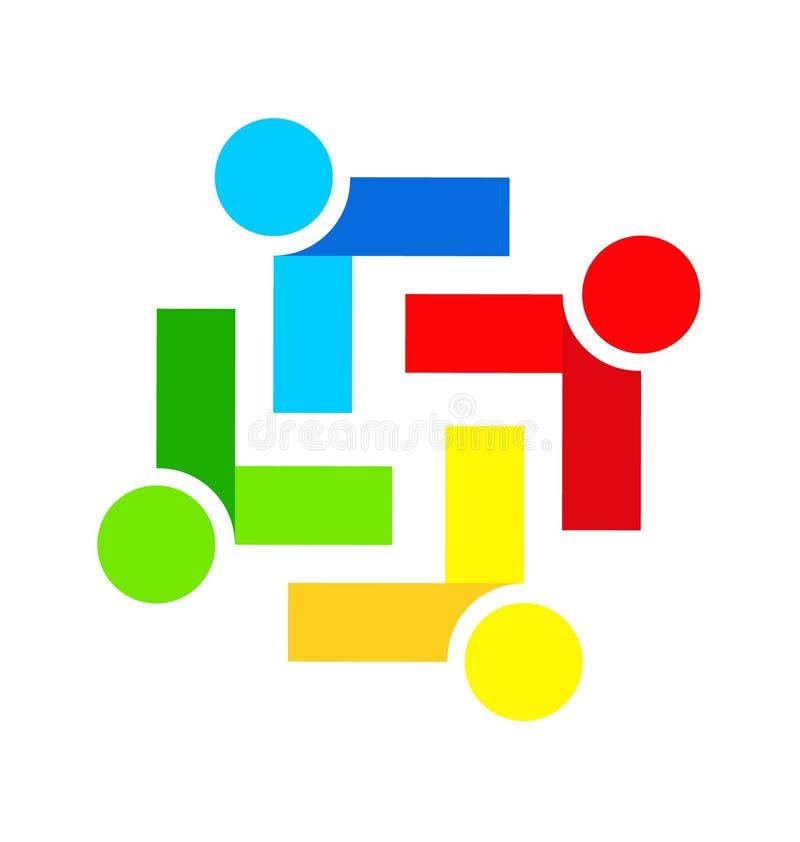 Logo för vektor för möte för teamworkfolkgrupp royaltyfri illustrationer
