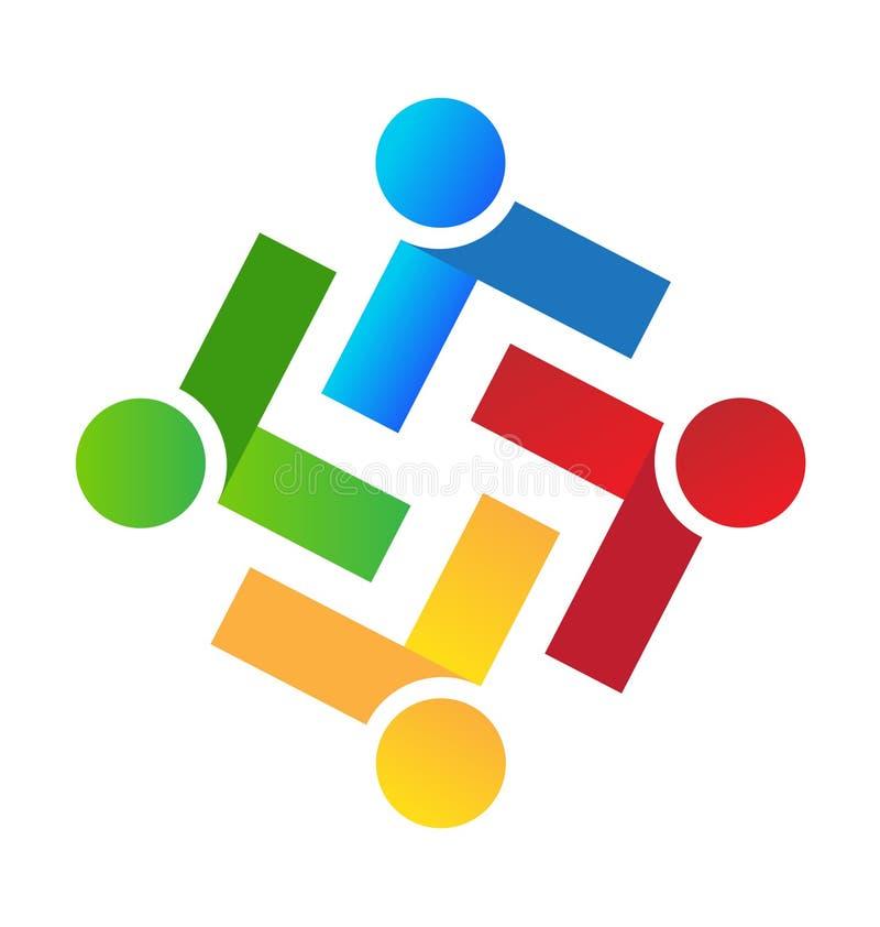 Logo för vektor för möte för teamworkfolkgrupp stock illustrationer
