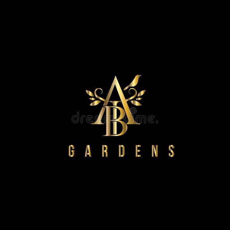 Logo för vektor för a- och b-bokstäver lyxig Modemonogramdesign royaltyfri illustrationer