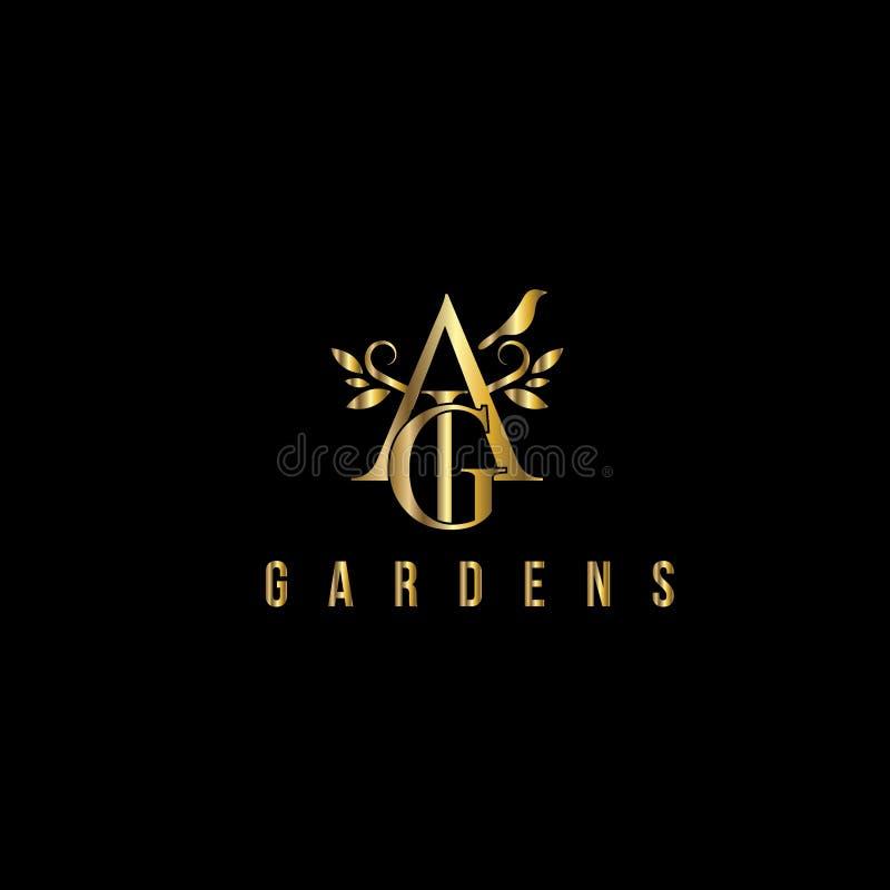 Logo för vektor för a- och G-bokstäver lyxig Modemonogramdesign vektor illustrationer