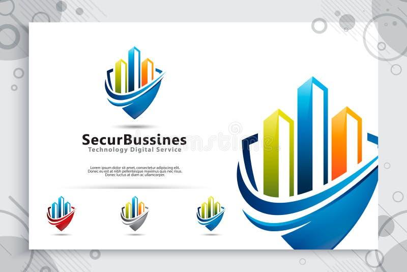 Logo för vektor för säkerhetsaffär med modernt färgbegrepp, illustration av diagrammet och sköld som ett symbol av den digitala m vektor illustrationer