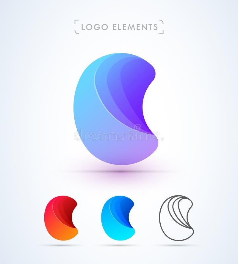 Logo för vektorabstrakt begreppbokstav C stock illustrationer