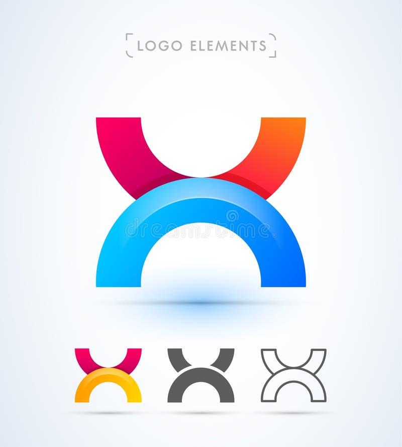 Logo för vektorabstrakt begreppbokstav X stock illustrationer