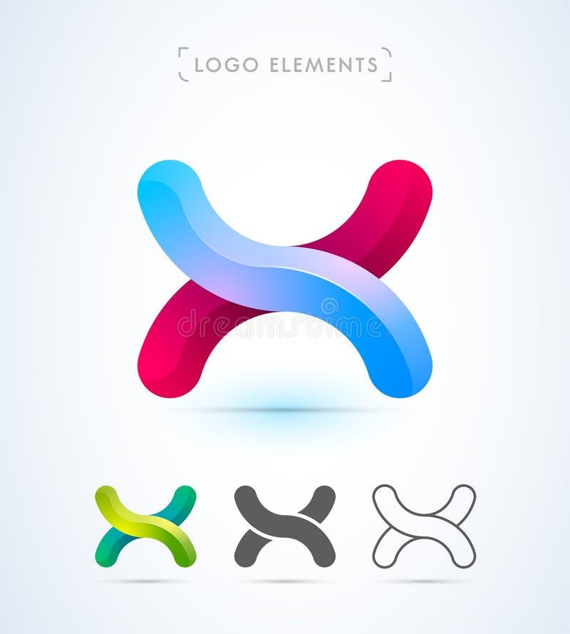 Logo för vektorabstrakt begreppbokstav X royaltyfri illustrationer