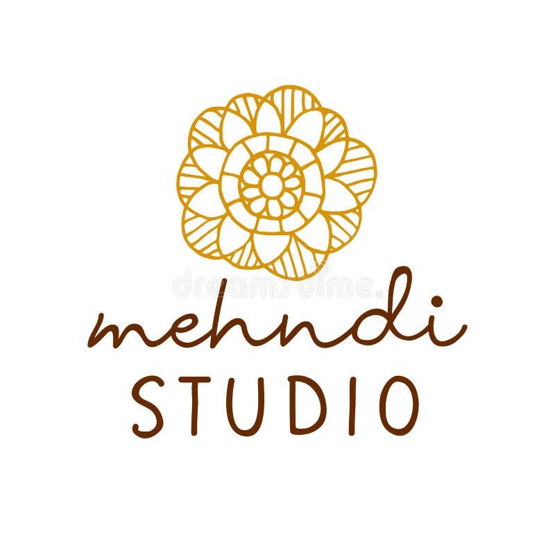 Logo för vektorhennamehndi Traditionellt emblem för studio för mandalablommatatuering vektor illustrationer
