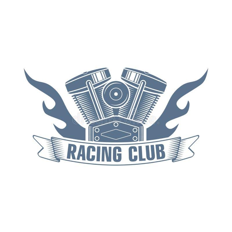 Logo för vektormotorcykelmotor royaltyfri illustrationer