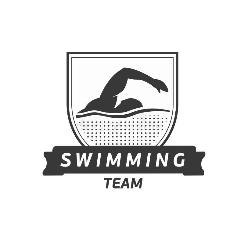 Logo för vektorsimninglag Simmarekontur i vatten Idérikt emblem Triathlonbegrepp Plan design royaltyfri illustrationer