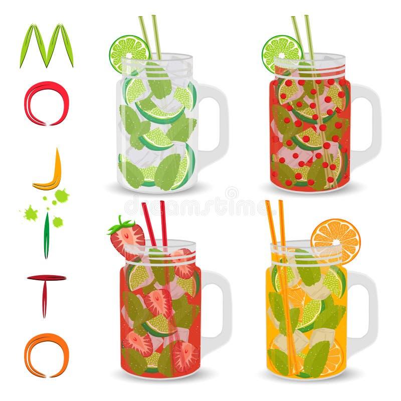 Logo för vektorsymbolsillustration för alkoholcoctailmojito vektor illustrationer