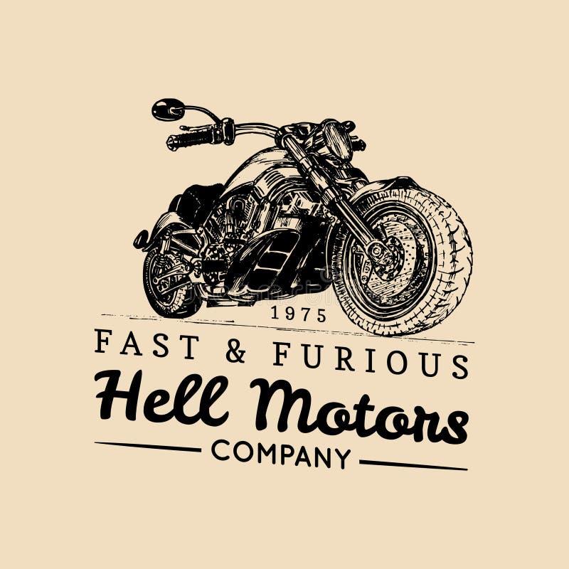 Logo för vektortappningmotorcykel Cyklistlagersymbol, konferenciétecken, beställnings- garageaffisch Illustration av den hand dro stock illustrationer
