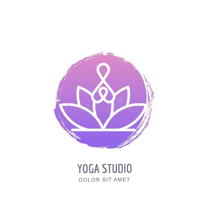 Logo för vektoryogastudio, emblem, etikettdesignmall Abstrakt människa i lotusblommaposition på vattenfärgcirkelbakgrund royaltyfri illustrationer