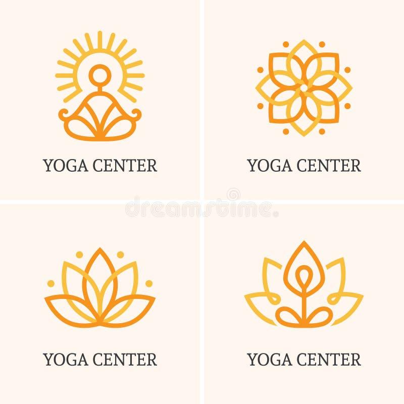 Logo för yoga fyra vektor illustrationer