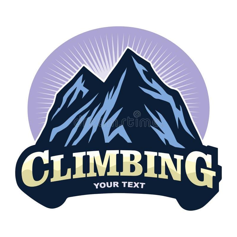Logo für Bergsteigen-Abenteuer, kampierend, Expedition Weinlese-Vektor-Logo und Aufkleber, Ikonen-Schablonen-Entwurf lizenzfreie abbildung