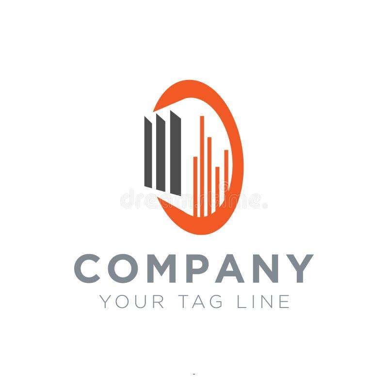Logo für Eigentumsgeschäft mit dem Buchstaben D und nach innen dort ist ein Bauobjekt lizenzfreie abbildung