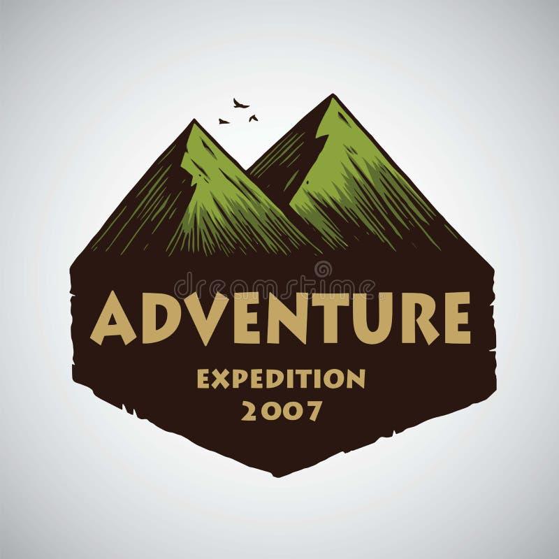 Logo für kampierendes Bergabenteuer, Embleme und Ausweise Lager in der Dschungel-Vektor-Illustrations-Design-Schablone lizenzfreie abbildung
