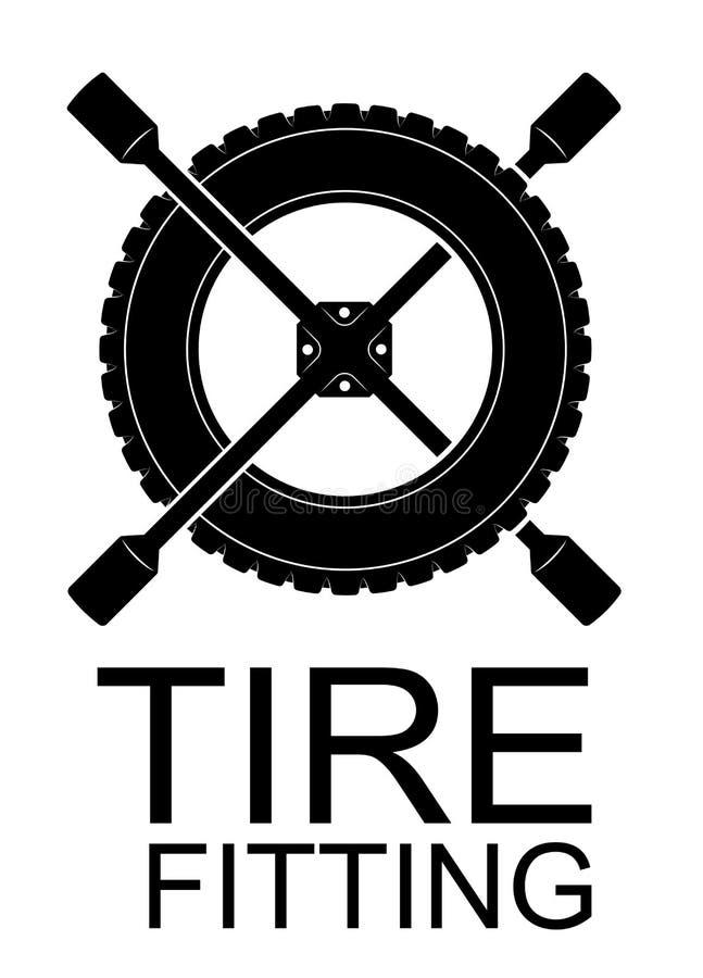 Logo für Reifeninstallation, Autoservice oder Reifenshop Schwarzes einfaches Emblem des Reifens und des Schlüssels vektor abbildung