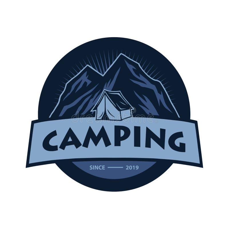Logo f?r Bergabenteuer, kampierend, kletternde Expedition Weinlese-Vektor-Logo und Aufkleber, Ikonen-Schablonen-Entwurf lizenzfreie abbildung