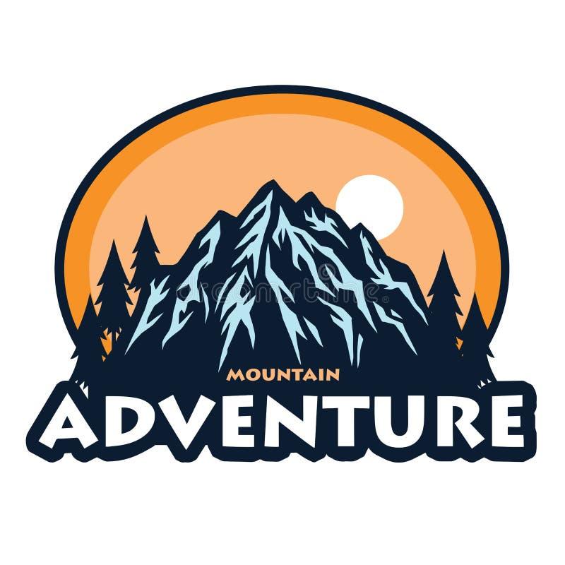 Logo f?r Bergabenteuer, kampierend, kletternde Expedition Weinlese-Vektor-Logo und Aufkleber, Schablonen-Entwurfs-Illustration lizenzfreie abbildung
