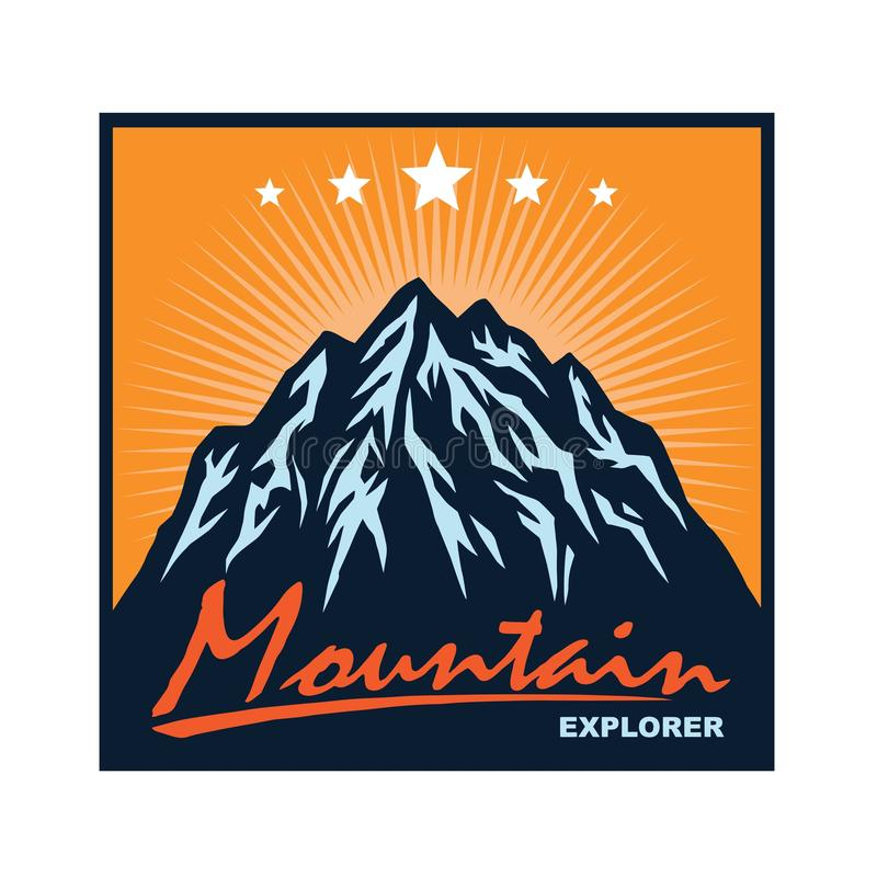 Logo f?r Bergabenteuer, kampierend, kletternde Expedition Weinlese-Vektor-Logo und Aufkleber, Schablonen-Entwurfs-Illustration vektor abbildung