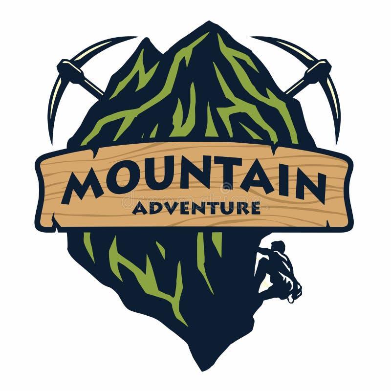 Logo f?r Bergsteigen, Abenteuer, kampierend, Expedition Weinlese-Vektor-Logo und Aufkleber, Ikonen-Schablonen-Entwurfs-Illustrati vektor abbildung