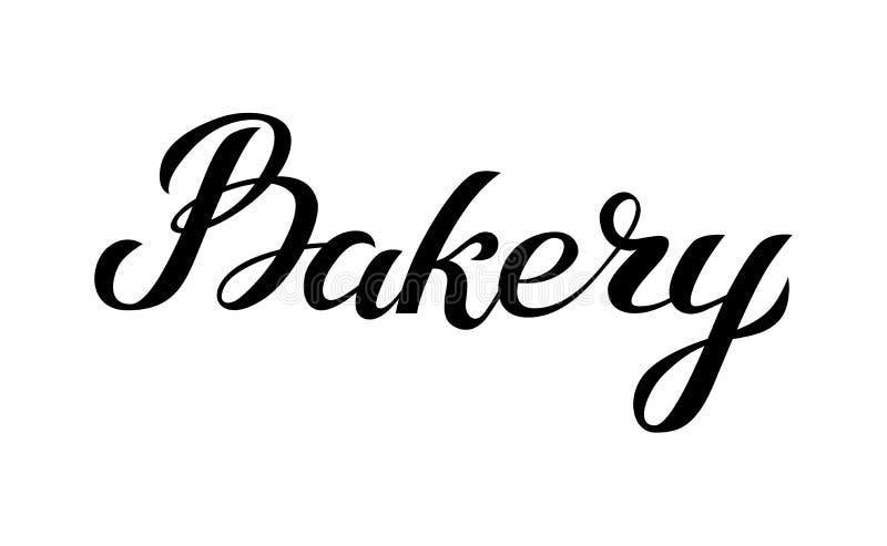 Logo f?r bokst?ver f?r bagerihand skriftlig, etikett, emblem, emblem tappning f?r stil f?r illustrationlilja r?d bakgrund isolera royaltyfri illustrationer