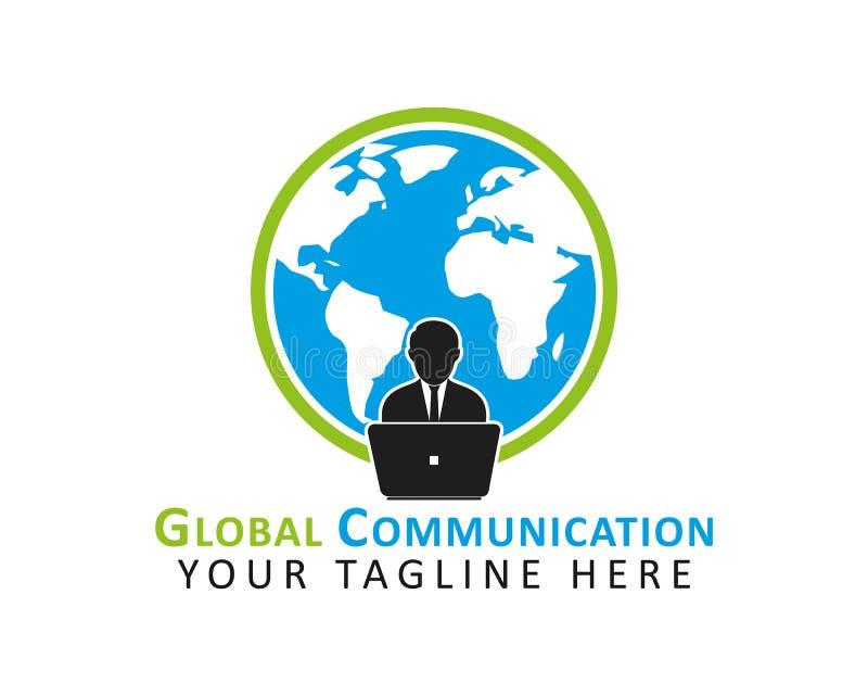 Logo f?r global kommunikation royaltyfri illustrationer