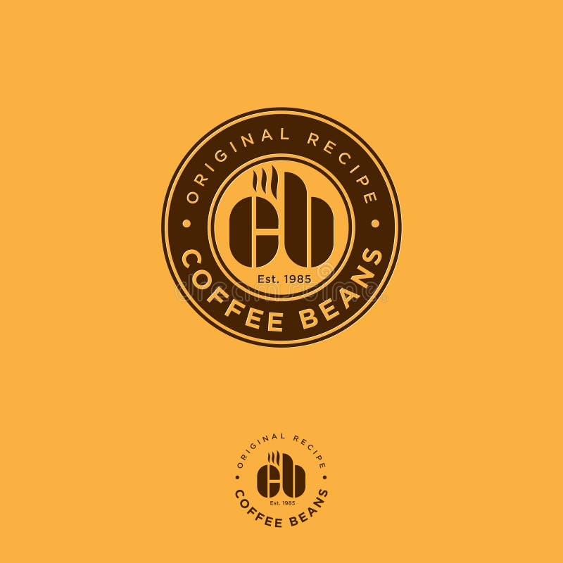 Logo f?r kaffeb?nor Brunt kaféemblem på gula bakgrunder vektor illustrationer