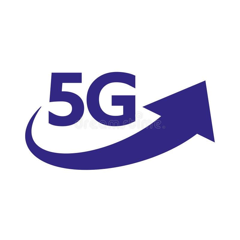 logo f?r vektor f?r n?tverk f?r internet 5G Isolerad symbol för anslutning för mobil för G 5 netto eller trådlös snabb och data stock illustrationer