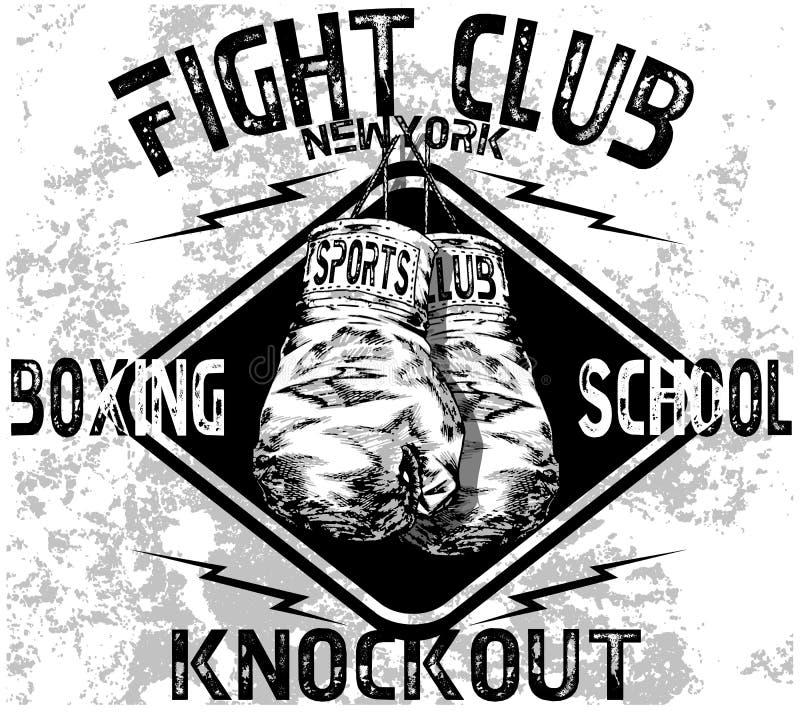 Logo fait main de gants de boxe d'athlétisme de croquis de vecteur d'illustration illustration libre de droits