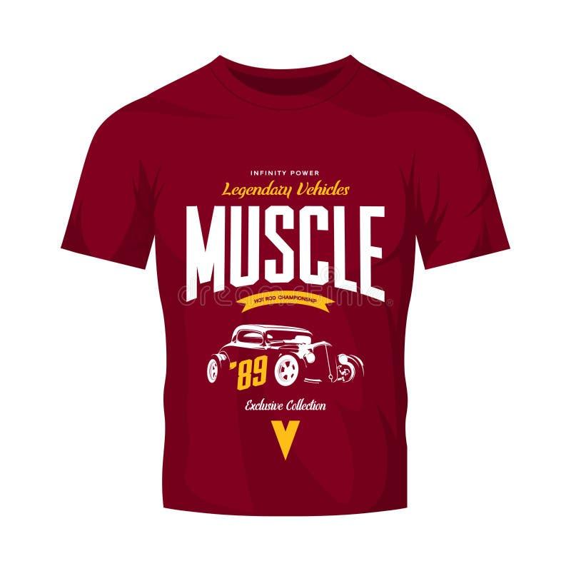 Logo fait sur commande de vecteur de hot rod de vintage d'isolement sur la moquerie rouge de T-shirt  illustration stock