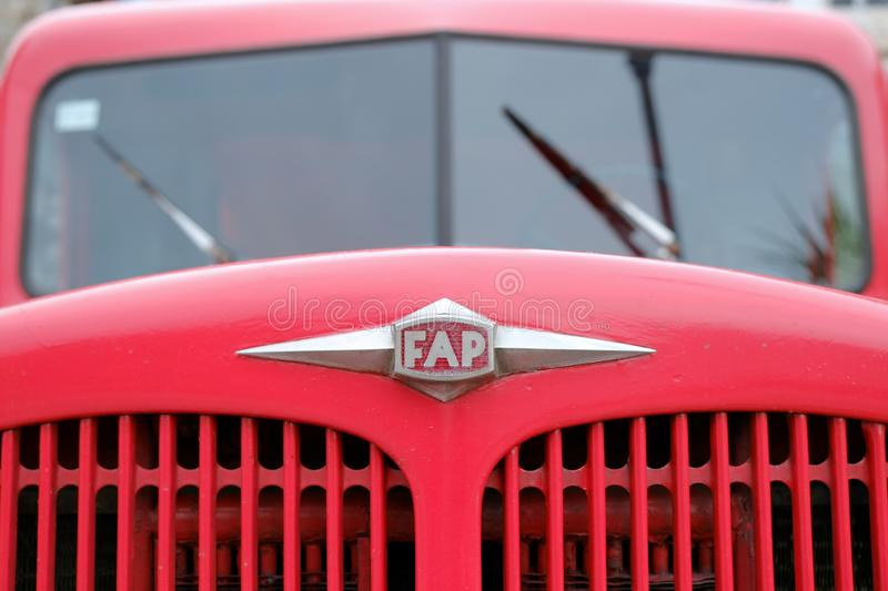 Logo FAP On Old Red Fire Truck, Montenegro royalty free stock photography