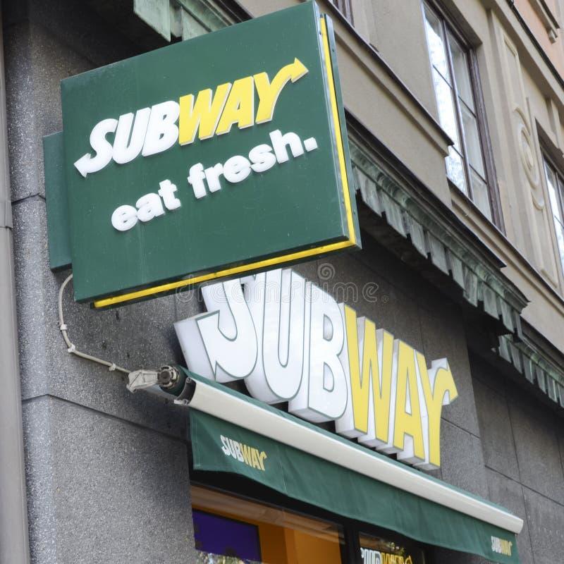 Subway fast food restaurant logo royalty free stock photo